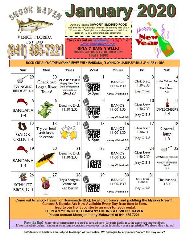 Snook Haven January Calendar