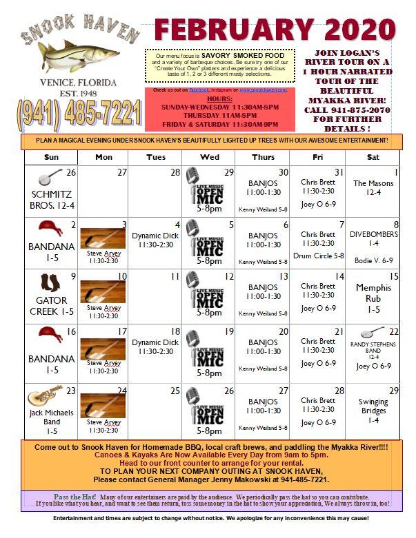 Snook Haven February Calendar