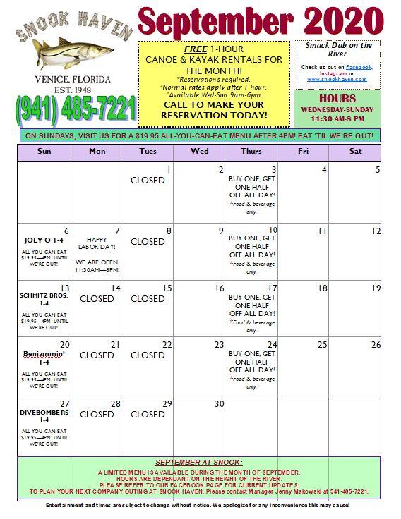 September Music & Specials Calendar