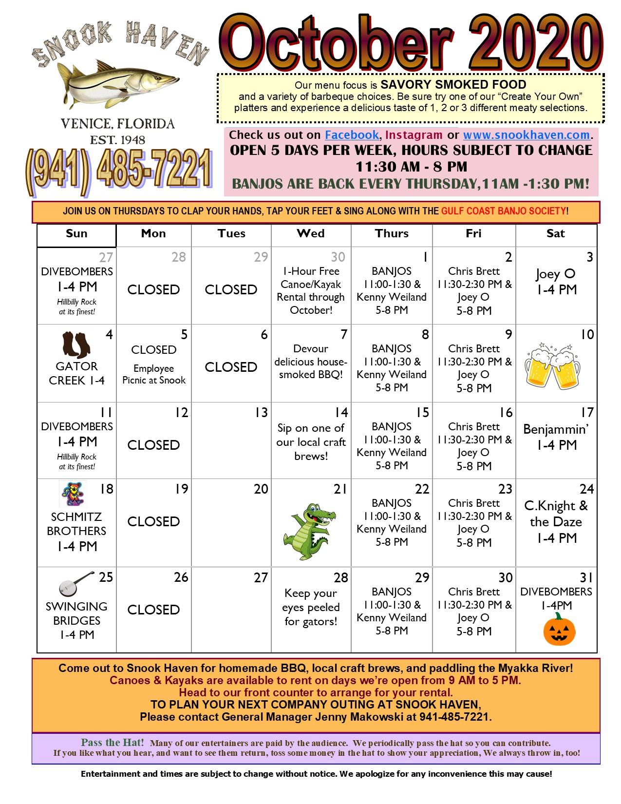 October Music & Event Calendar