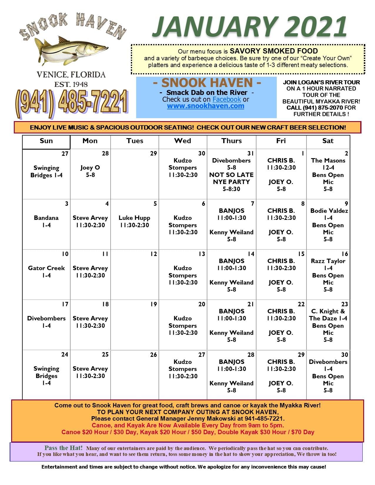 January Music & Event Calendar