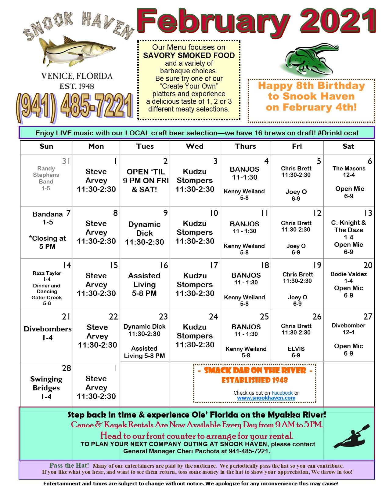 February Music & Event Calendar