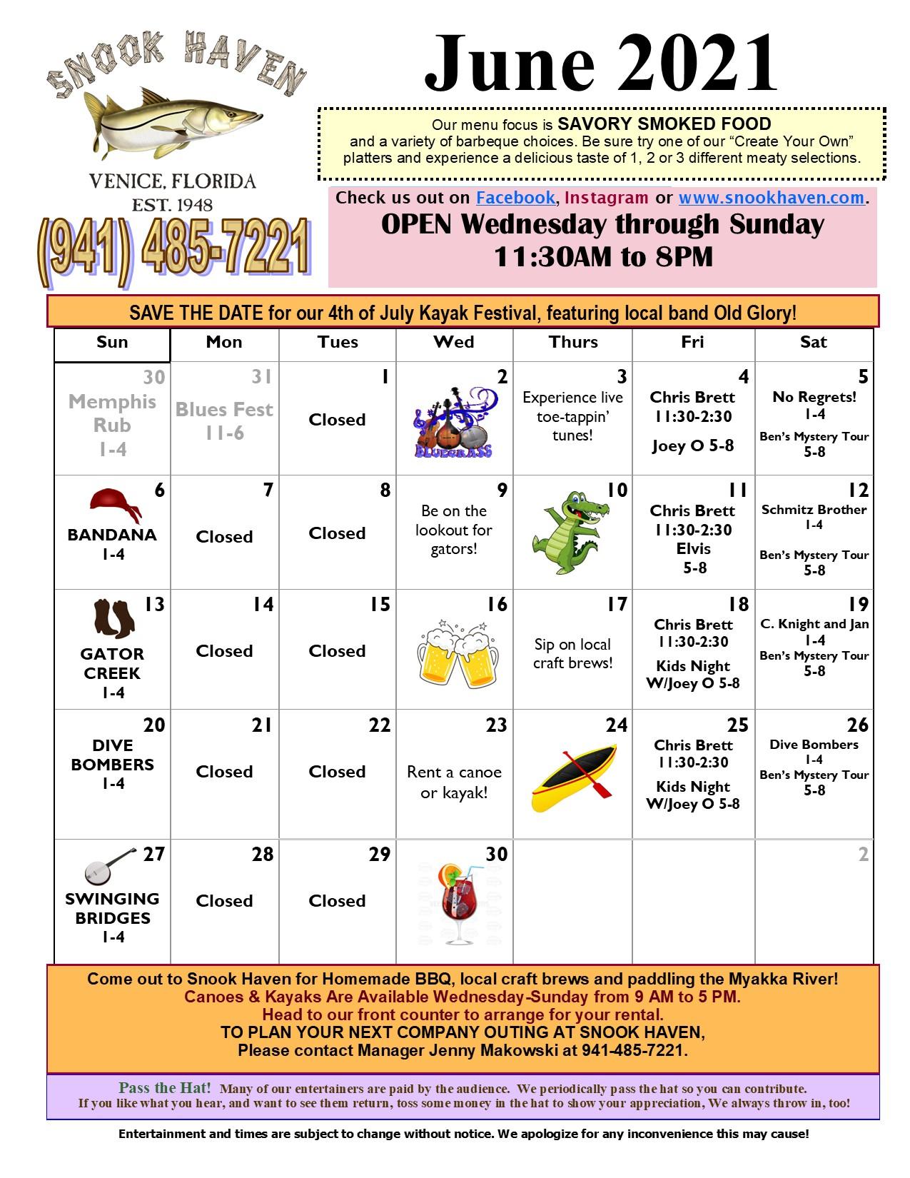 June Music & Event Calendar