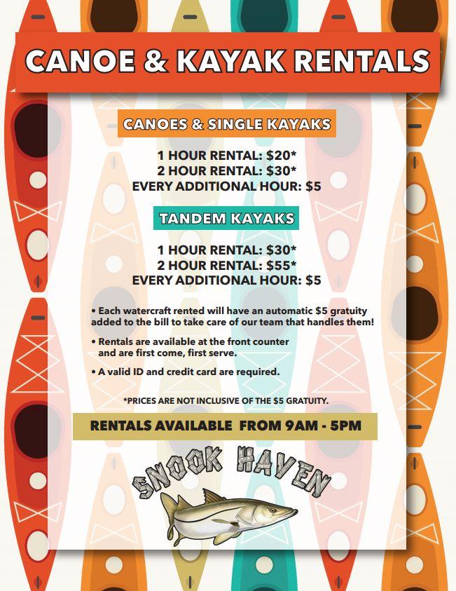 Canoe & Kayak Rental Pricing & Policy Updates