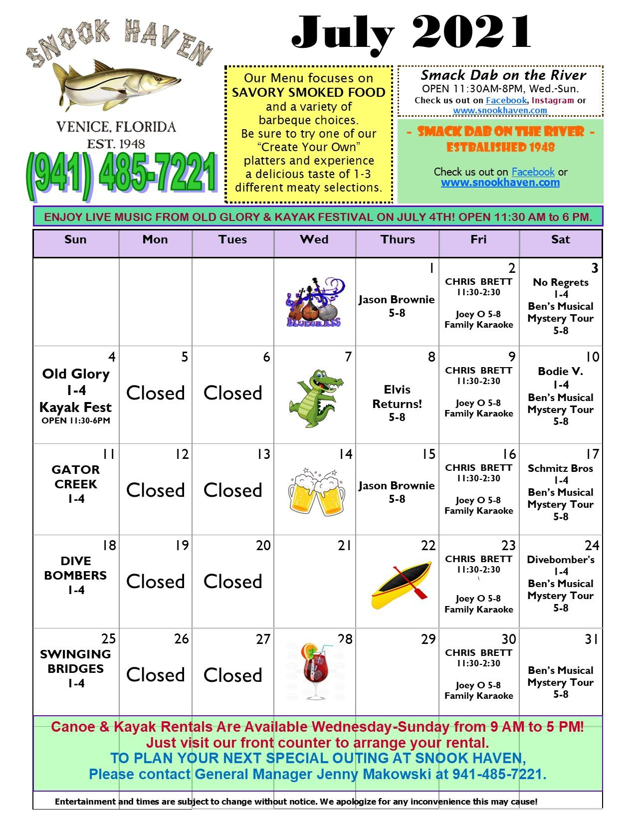 July Music & Event Calendar