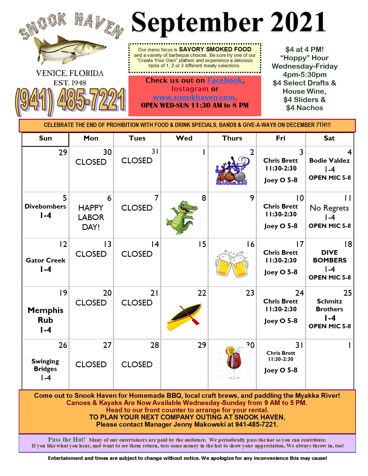 September Music & Event Calendar