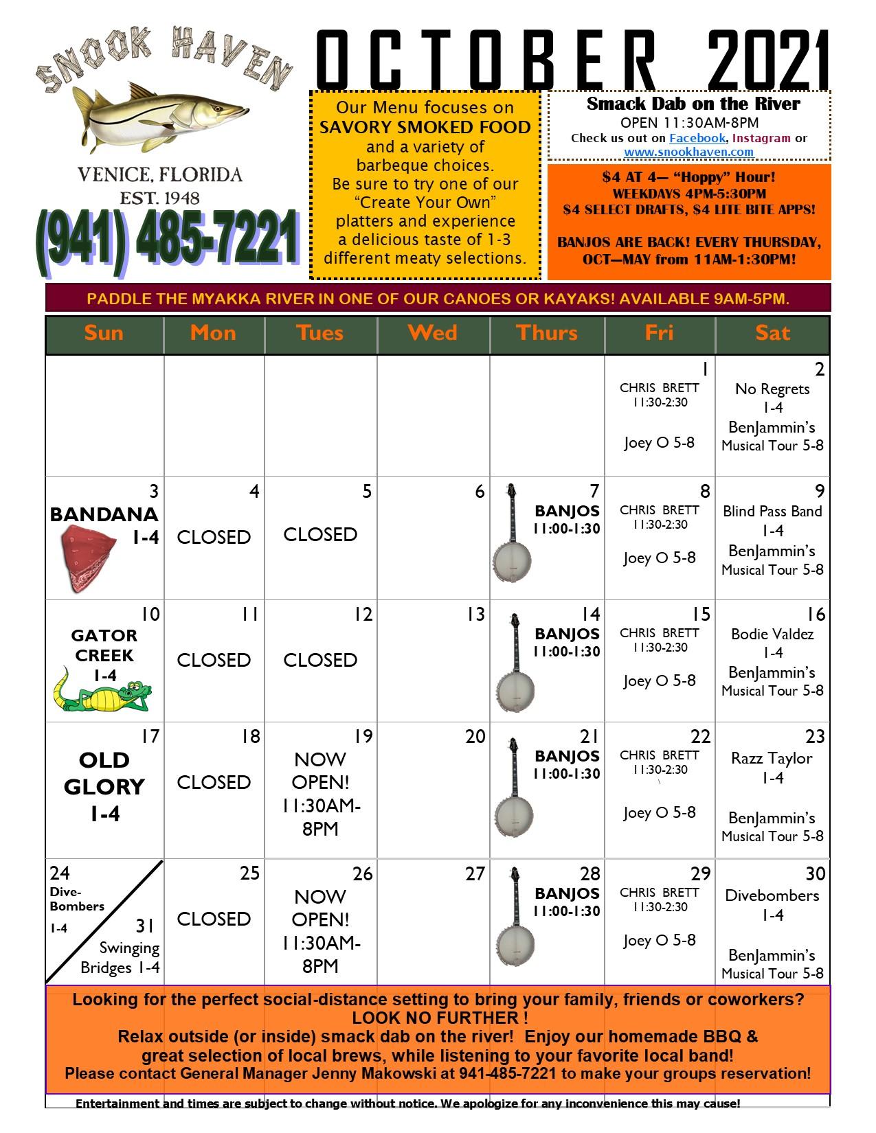 Snook Haven October Calendar